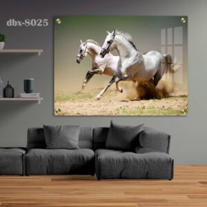 תמונת זכוכית סוסים דוהרים