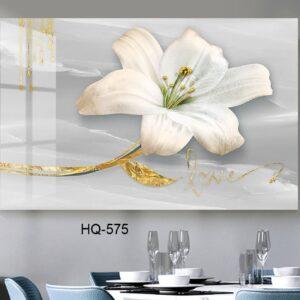 תמונת זכוכית פרח לבן